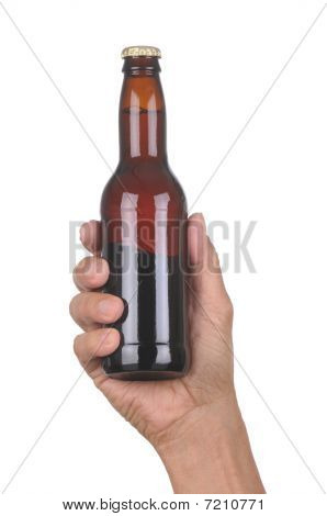 Hand With Brown Beer Bottle