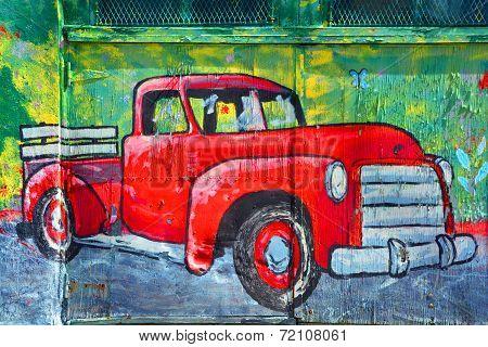 Street art Montreal vintage truck
