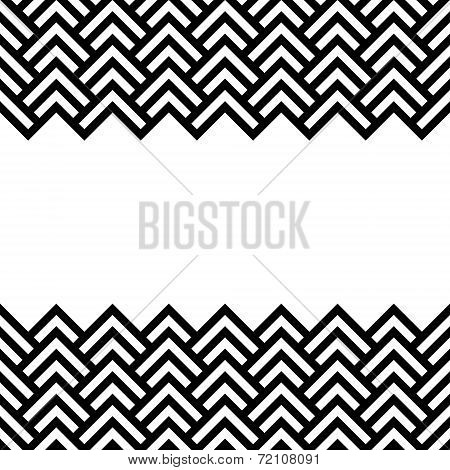 Black and white chevron geometric horizontal border frame background, vector