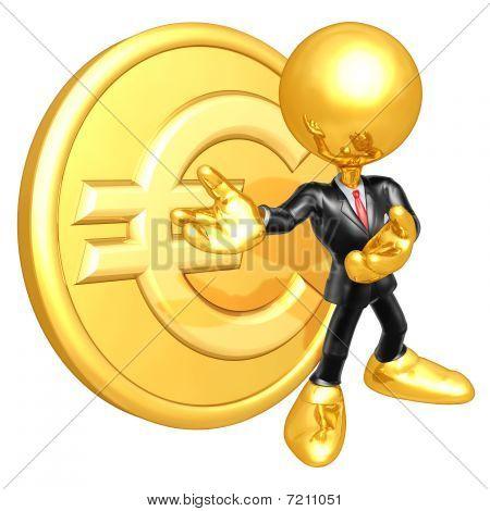 Empresário de mini ouro cara com moeda de ouro