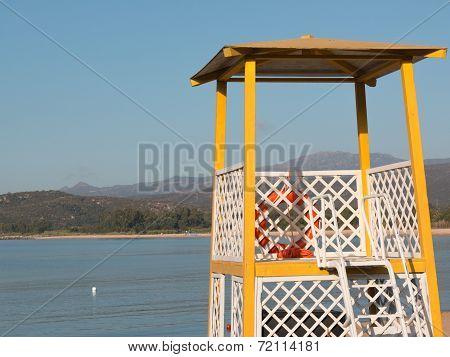 Yellow Lifeguard Tower On Beach