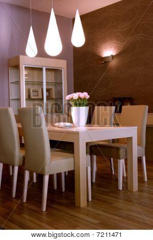 Modern dining room interior design.