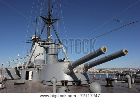 Rear 9.2 in main guns view of Battleship Averoff, Faliro, Greece