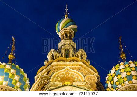 Three domes of Church of the Savior on Blood