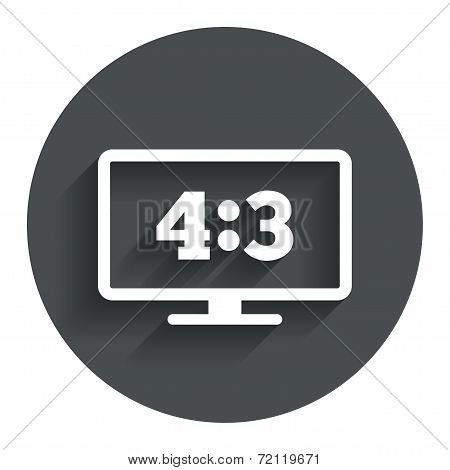 Aspect ratio 4:3 widescreen tv. Monitor symbol.
