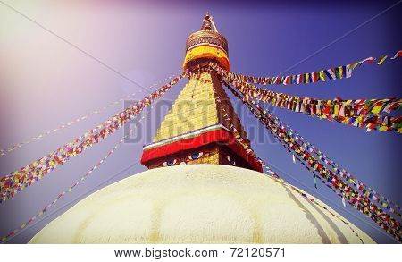 Vintage Filtered Picture Of Boudhanath Stupa, Symbol Of Kathmandu, Nepal