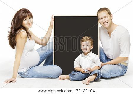 Family Advertising Blank Copyspace Board. Parents Education, Pregnant Mother Father And Child Portra