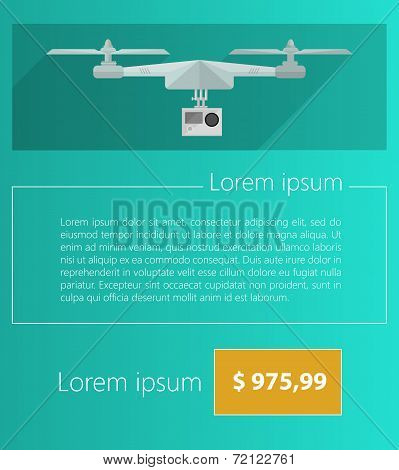Vector ad layout for gray quadrocopter