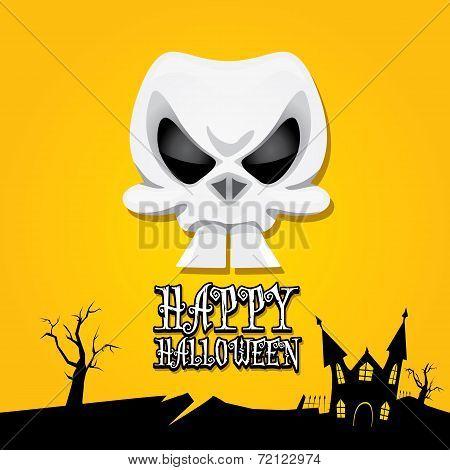 vector happy halloween card with skull
