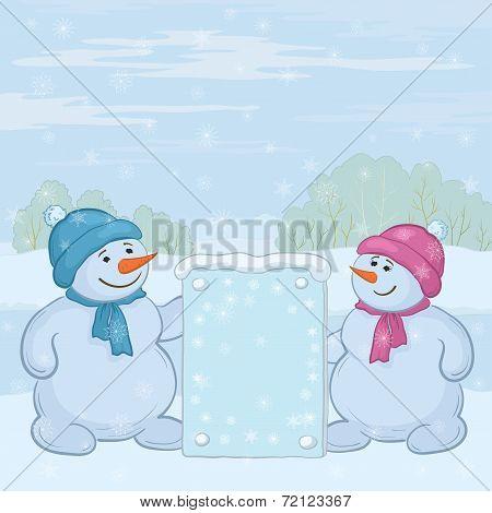 Snowmens Boys With Sign