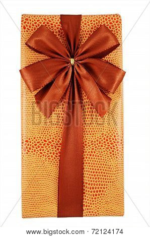 Beautifully Decorated Gift Box With Bow On White