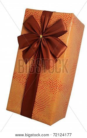 Beautifully Decorated Gift Box With Bow Over White