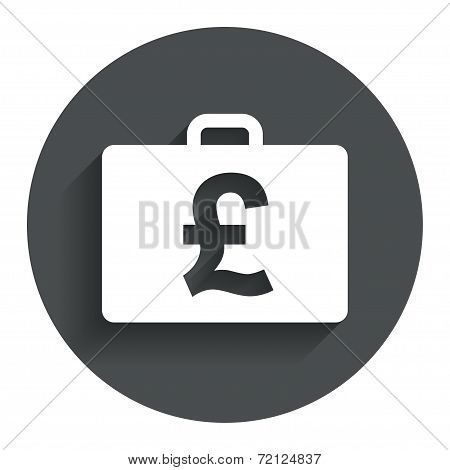 Case with Pounds GBP sign. Briefcase button.