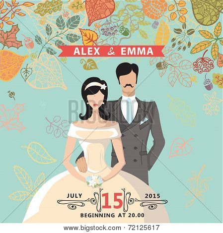 Cute wedding invitation with groom,bride,autumn leaves