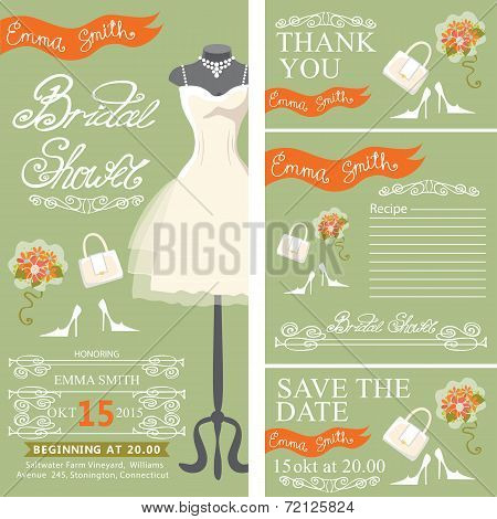 Bridal shower invitationset with bridal dress