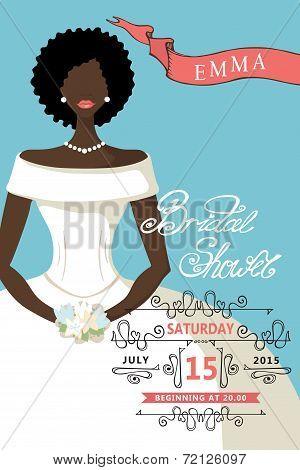 Bridal shower invitation with mulatto bride female