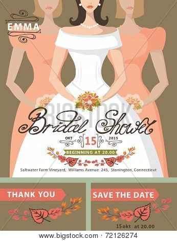 Bridal shower invitation set.Bride,bridesmaids,autumn leaves
