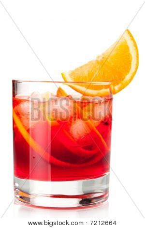 Alcohol Cocktail Collection - Negroni With Orange Slice