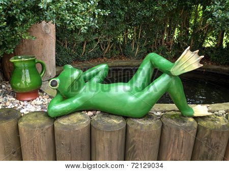 Relaxted green frog