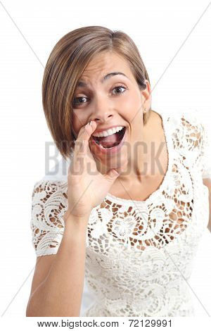 Pretty Woman Shouting With Hand On Mouth