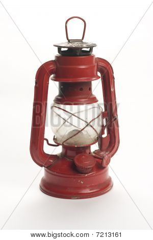 old kerosene lamp isolated over white background