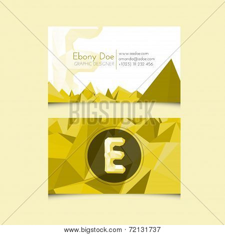 Low Poly Business Card Template With Alphabet Letter E