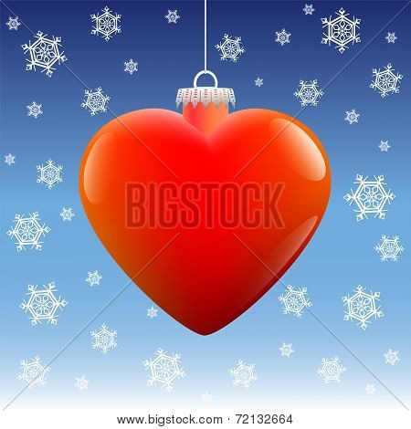 Christmas Ball Heart Snow