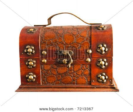Old Brown Chest Isolated On A White Background