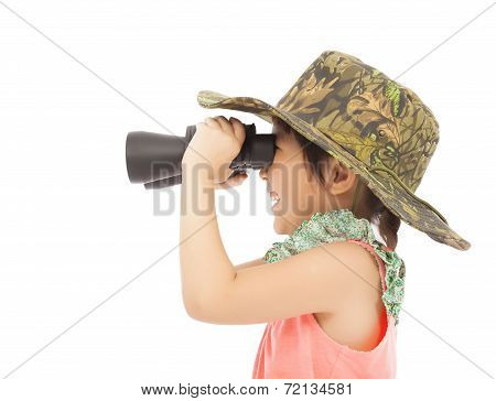 Little Girl Looking Through Binoculars. Isolated On White