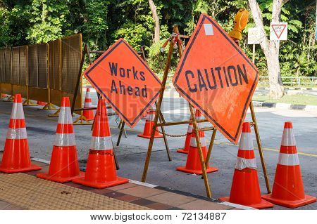 Caution Sign In Construction Site