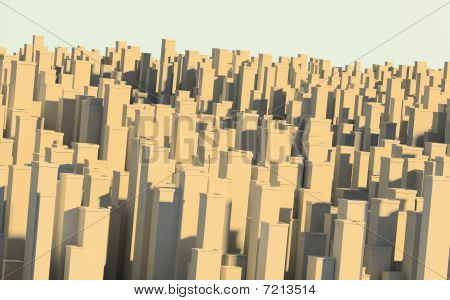 Big city perspective and skyline