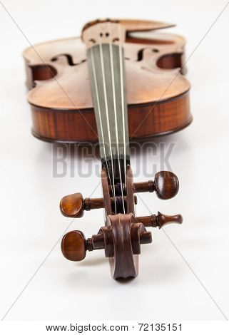 Violin with scroll at forefront