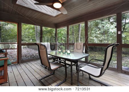 Wooden Porch With Skylights