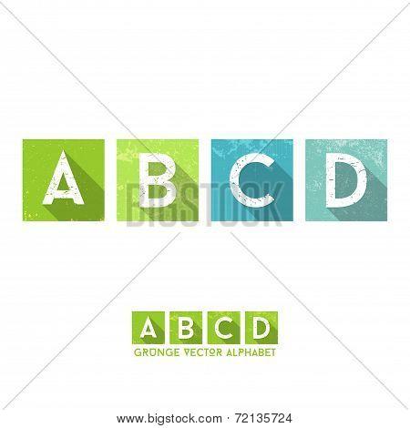 Simple Grunge Flat Alphabet