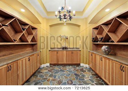Wine Cellar With Yellow Walls