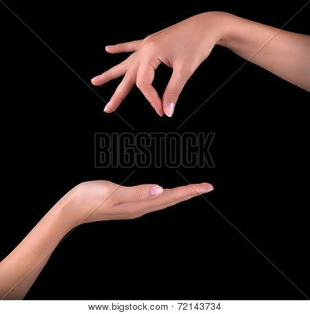 woman hand pick up object