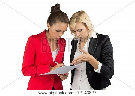Two businesswoman making a decision