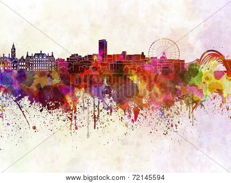 Sheffield Skyline In Watercolor Background