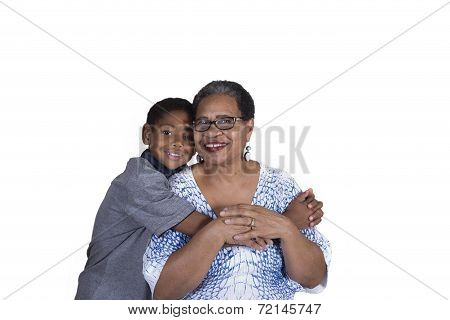 Grandmother and grandson bonding isolated on a white background