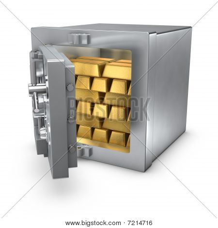 Bank Safe With Gold Bars