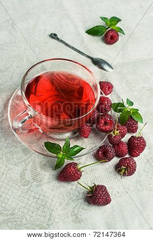 Raspberry Tea In A Glass Cup