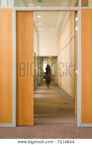 Woman Silhouette In Corridor