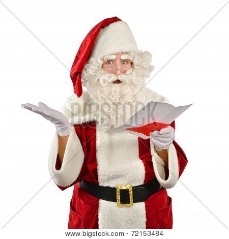 Santa Claus Reading a Strange Wish List