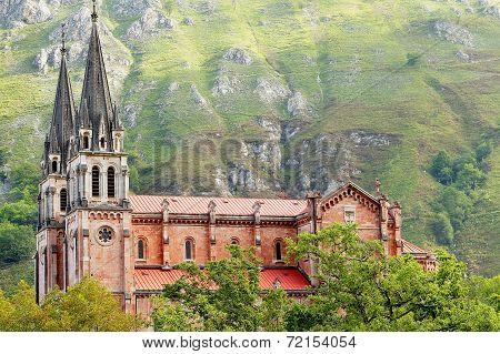 covadonga monastery with fog