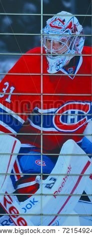 Montreal Canadians goaltender Carey Price publicity sign