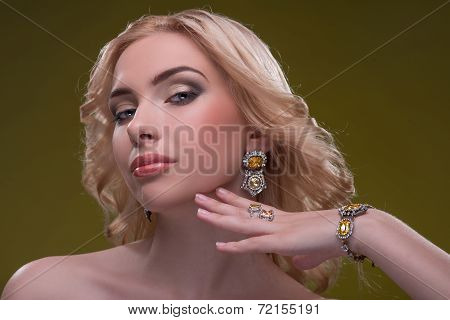 Wonderful blonde wearing jewelry