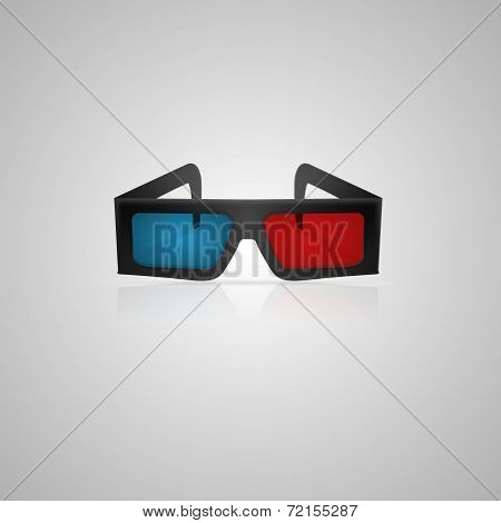Vector illustration of black 3d cinema glasses