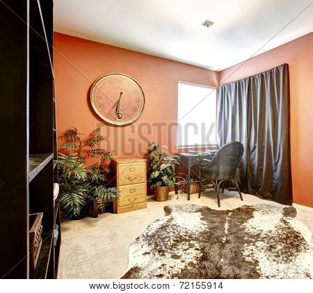 Bright Orange Room With Cow Skin Rug