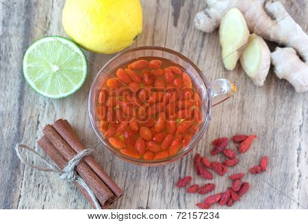 Cup of delicious dietary Goji berries tea