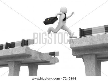Businessman Jumping Over The Road Gap